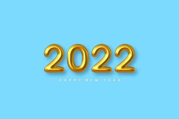 Cartão de ano novo de 2022 com números dourados metálicos 3d em azul