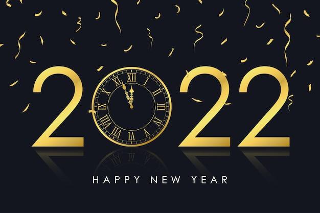 Cartão de ano novo de 2022 com relógio de ouro e confete dourado para cartão de férias