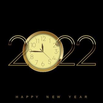 Cartão de ano novo de 2022 com relógio dourado sobre fundo preto. ilustração vetorial.