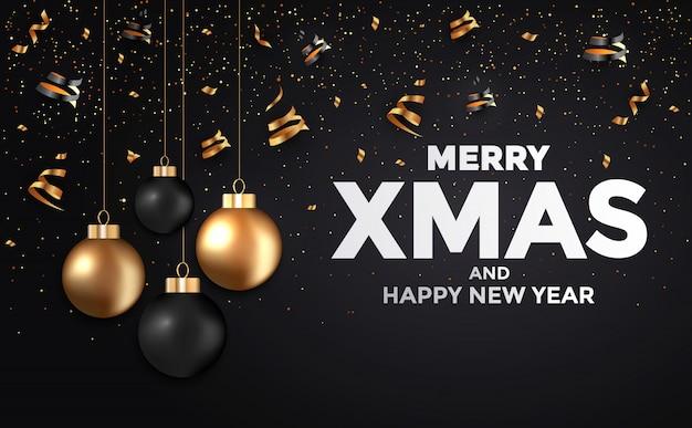 Cartão de ano novo de férias preto e dourado