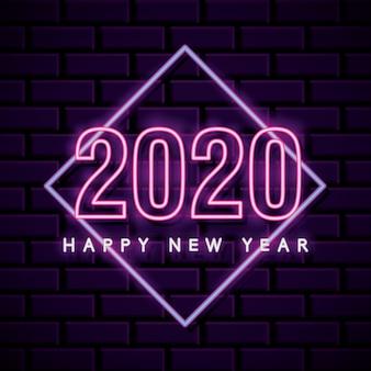 Cartão de ano novo de néon sobre parede de tijolo