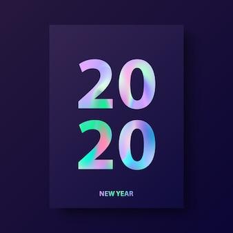 Cartão de ano novo, design moderno de capa com texto holográfico 2020.