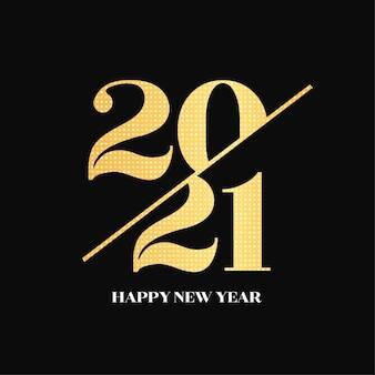 Cartão de ano novo elegante com números dourados