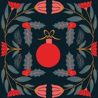 Cartão de ano novo moderno com bola