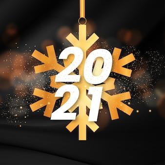 Cartão de ano novo moderno com floco de neve