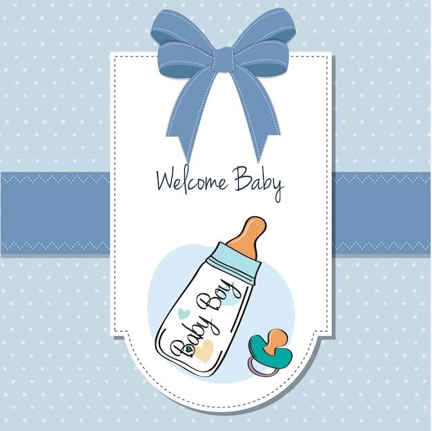 Cartão de anúncio de bebê com mamadeira e chupeta