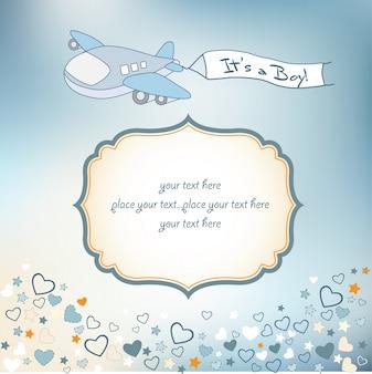 Cartão de anúncio de bebê menino com avião