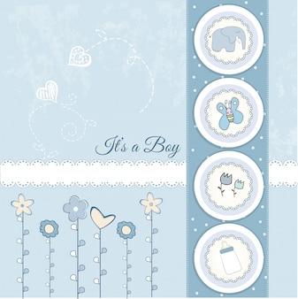 Cartão de anúncio de bebê menino