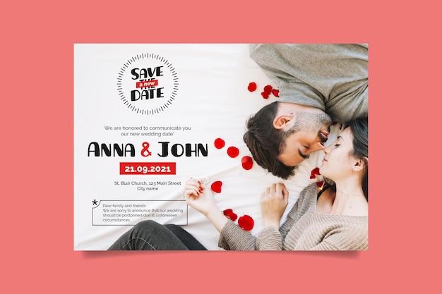 Cartão de anúncio de casamento adiado