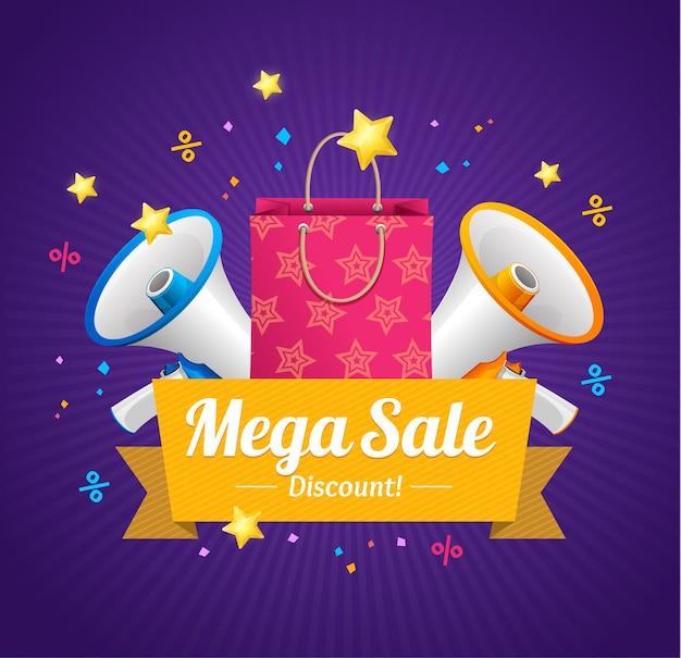 Cartão de anúncio de mega venda de inverno com saco de papel e megafone ou alto-falante. ilustração vetorial
