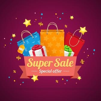 Cartão de anúncio de super venda de inverno com saco de papel e caixas de presentes. ilustração em vetor de descontos sazonais