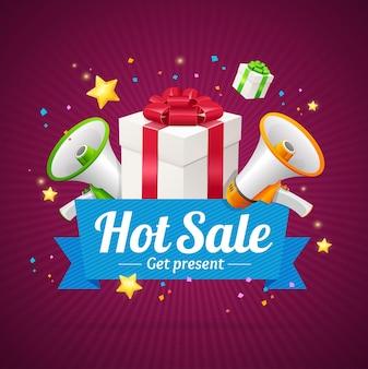 Cartão de anúncio de venda quente de inverno com caixas de presentes e megafone ou alto-falante. ilustração vetorial
