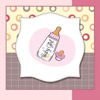 Cartão de anúncio novo bebê menina com garrafa de leite e chupeta