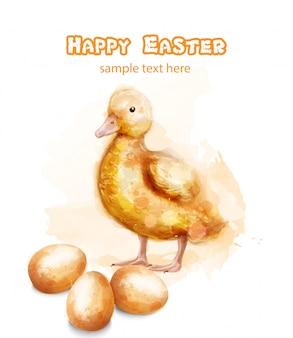 Cartão de aquarela ducky de páscoa