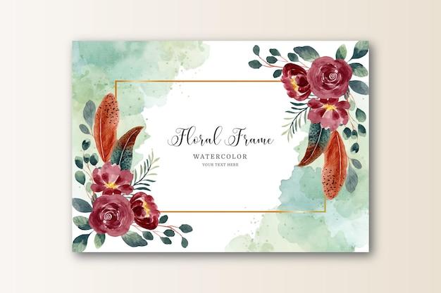 Cartão de aquarela floral e moldura de penas