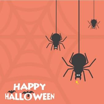Cartão de aranha assustador feliz do dia das bruxas