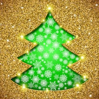 Cartão de árvore de natal com glitter