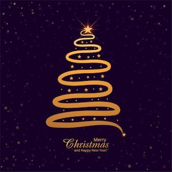 Cartão de árvore de natal de linha mínima