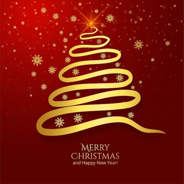 Cartão de árvore de natal dourada de linha mínima