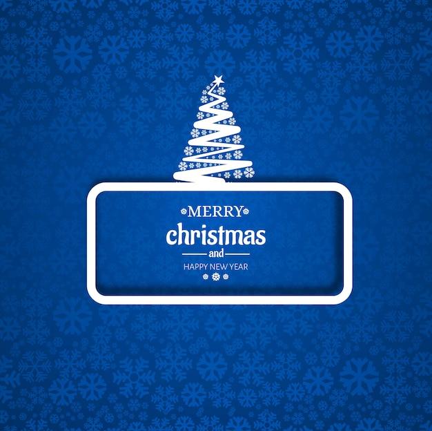 Cartão de árvore de natal feliz com fundo de floco de neve