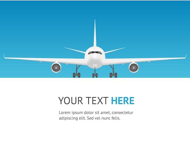 Cartão de avião de passageiros. vista frontal do jato.