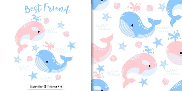 Cartão de baleia bonito mão desenhada sem costura padrão definido