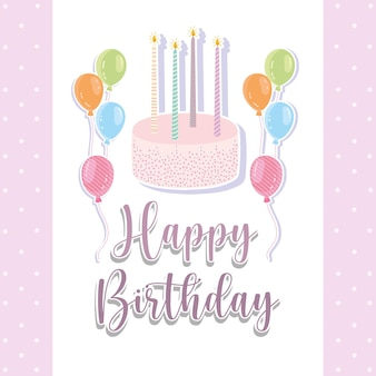 Cartão de balões de bolo de feliz aniversário