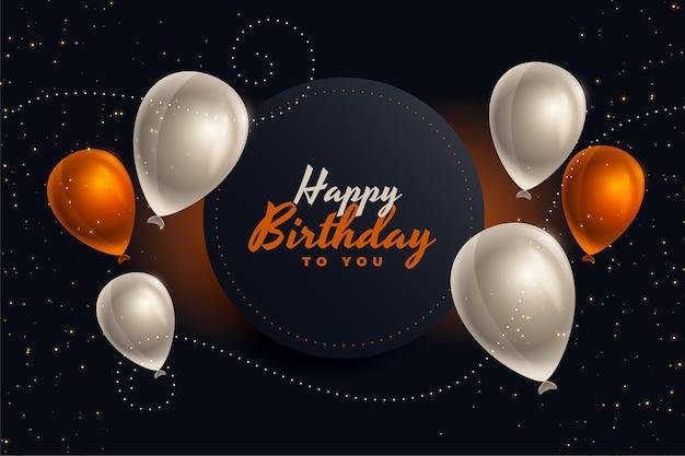 Cartão de balões de feliz aniversário em cores agradáveis