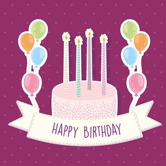 Cartão de balões de velas de bolo de aniversário