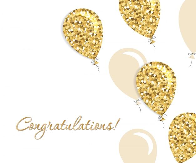Cartão de balões. glitter dourado e cores bege.