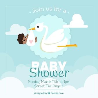 Cartão de banho de bebê com cegonha