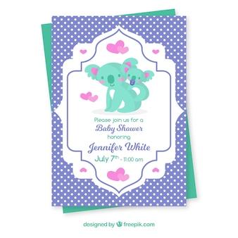 Cartão de banho de bebê com koalas