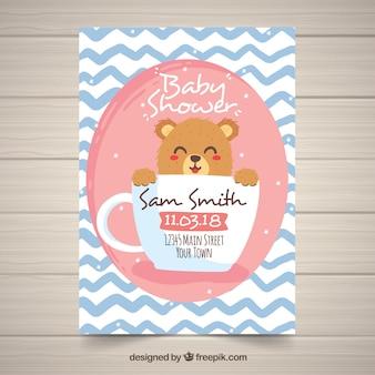 Cartão de banho de bebê em estilo desenhado à mão