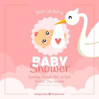 Cartão de banho de bebê rosa com cegonha