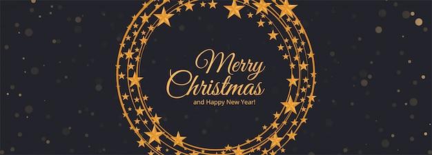 Cartão de banner de estrelas de flocos de neve de natal
