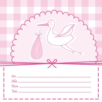 Cartão de bebê rosa com ilustração em vetor cegonha bebê chuveiro