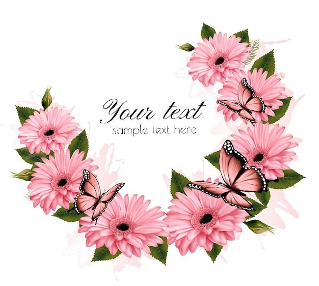 Cartão de belas férias com flores cor de rosa. vetor.