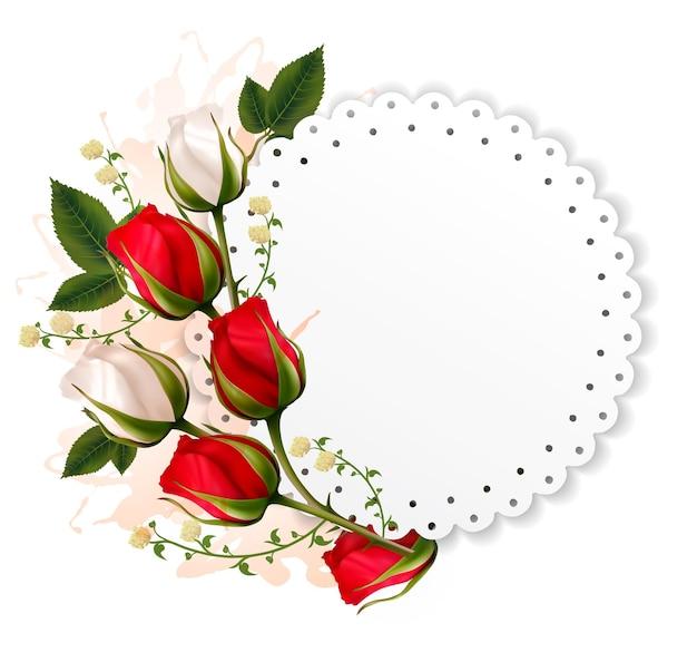 Cartão de belas férias com rosas vermelhas e brancas.