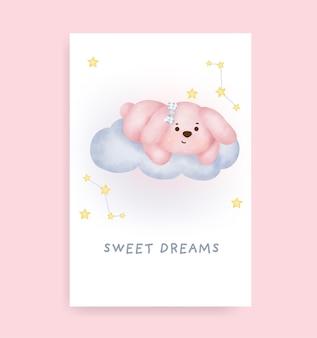 Cartão de boa noite com coelho fofo na lua