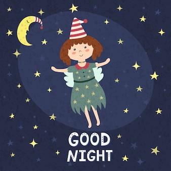 Cartão de boa noite com uma fada fofa