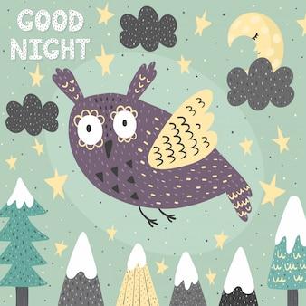 Cartão de boa noite de fantasia com uma coruja bonita.