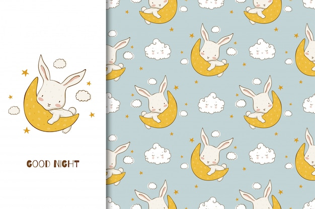Cartão de boa noite dos desenhos animados com o personagem do coelho bebê na lua. padrão sem emenda. desenho desenhado à mão