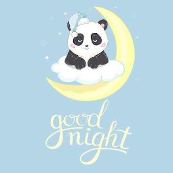 Cartão de boa noite panda bonito