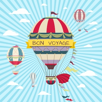 Cartão de boa viagem com balão de ar quente no céu