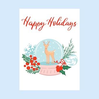 Cartão de boas festas com bola de neve e renas