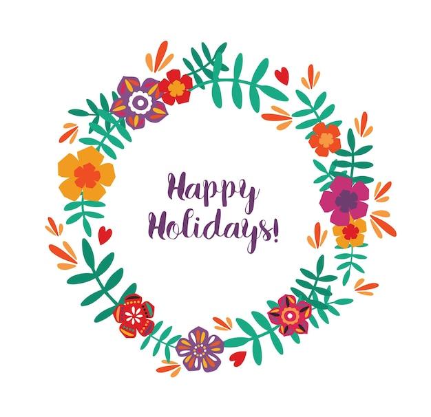 Cartão de boas festas com guirlanda floral