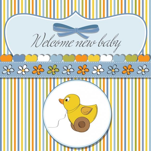 Cartão de boas-vindas com brinquedo de pato