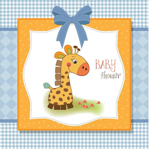 Cartão de boas-vindas do bebê com girafa