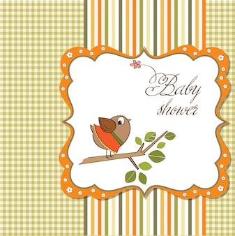 Cartão de boas-vindas do bebê com passarinho engraçado