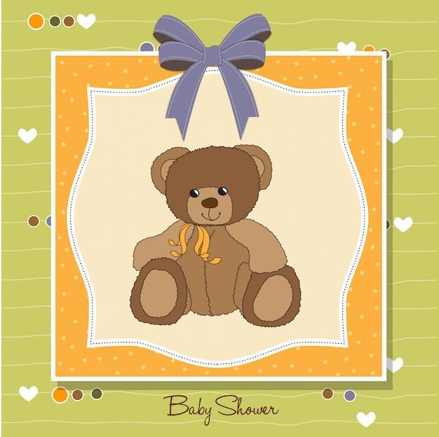 Cartão de boas-vindas do bebê com ursinho de pelúcia